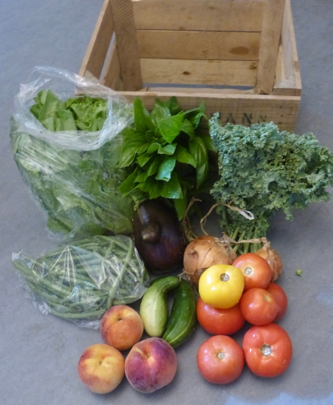 assortment of vegetables next to their delivery crate