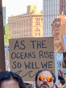 "protest sign: ""As the oceans rise, so will we"""