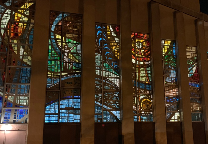 Tree of Life stained glass seen from outside, at night